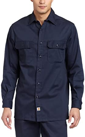 Carhartt Men's Big & Tall Twill LS Work Shirt, Navy, Medium Tall