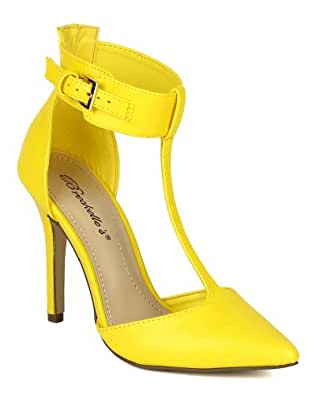 Breckelles BK65 Women Leatherette Pointy Toe T-Strap Cutout Ankle Cuff Pump - Yellow (Size: 5.5)