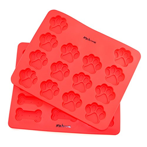 Mehome Food Grade Large Mats Trays, Puppy Pets Dog Paws & Bones Silicone Baking Molds, Bake Dog Treats For Pets, Kids, Dog-lovers,12