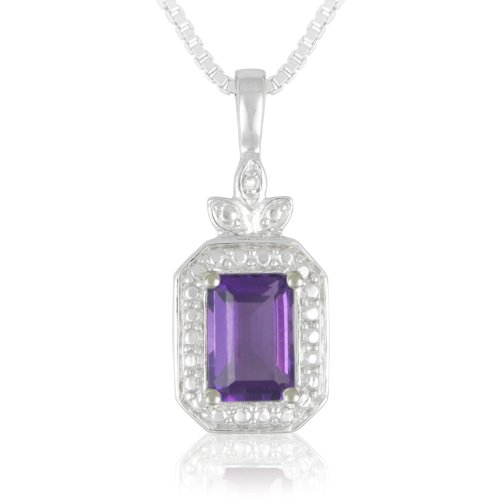 Sterling Silver Amethyst and White Diamond Pendant Necklace , 18