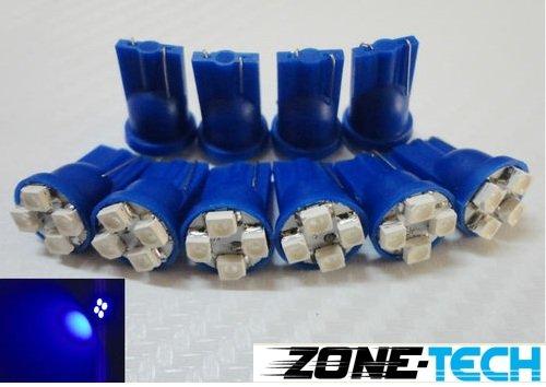 Zone Tech 10X T10 194 168 501 4-Smd 3528 Led Car Light Bulb Blue