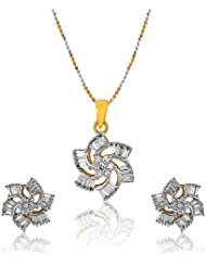 YouBella American Diamond Gold Plated Pendant Set With Chain For Women