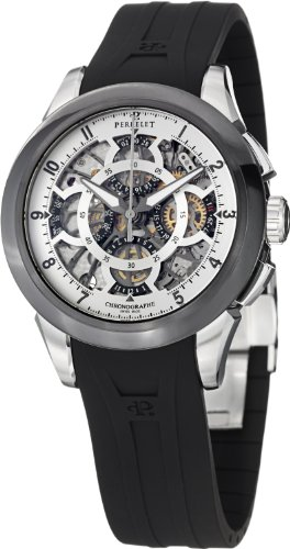 Perrelet Skeleton Chronograph 43.5mm Watch - Silver Dial, Black Rubber Strap A1056/1