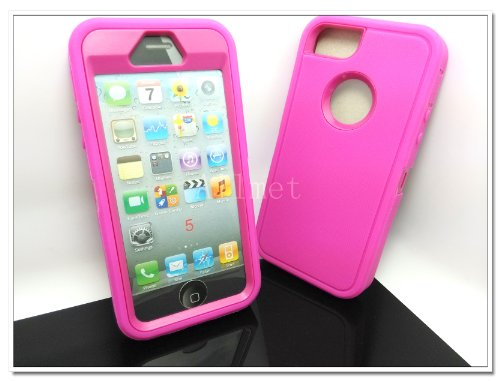 $$  Multi Color Iphone 5 5S Body Armor Silicone Hybrid Cove Hard Case, Three Layer Silicone PC Case Cover for iPhone 5 5S (Hot Pink+Pink)