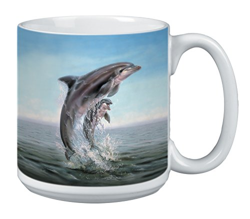 Tree-Free Greetings Extra Large 20-Ounce Ceramic Coffee Mug, Dolphin Leaping Themed Wildlife Art (XM29920)