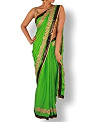 Spring Green Saree With Golden Cutwork And Black Sequin Work