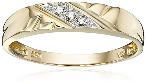 10k Yellow Gold Diagonal Diamond Women's Wedding Band (0.01 cttw, I-J Color, I2-I3 Clarity), Size 6