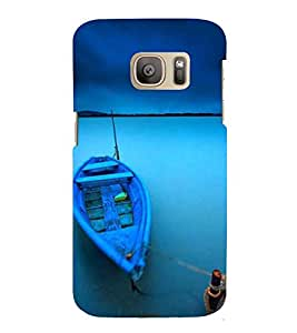 Printvisa Premium Back Cover Blue Anchored Boat Design For Samsung Galaxy S7::Samsung Galaxy S7 Duos with dual-SIM card slots