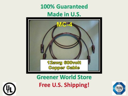 12 Foot Mc4 Solar Cables For Photovoltaic Solar Panels With Mc4 Solar Connector Cables 12 Feet Long And Mc4 Connectors At Each End.