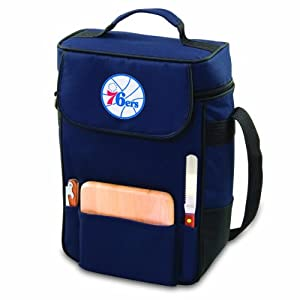 NBA Philadelphia 76ers Duet Insulated 2-Bottle Wine and Cheese Tote by Picnic Time