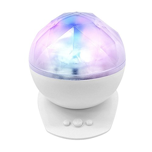 Best Room Light Aurora Borealis Color Changing Waves LED Night Ball Lamp & Speakers in 1 (White) (Starry Night Sun Shade compare prices)