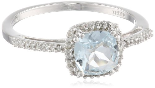 10k White Gold, Aquamarine, and Diamond Cushion Ring (1/10 cttw), Size 7