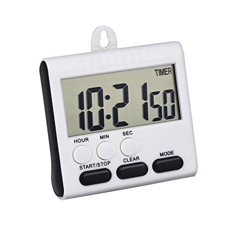Mudder Magnetic Alarm Digital Kitchen Timer 24 Hours Clock Timer with Stand, Big Screen (Black) (Timer Stand compare prices)