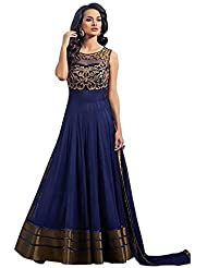 Generative Shoppe Women's Blue Georgette Net Semi-Stitched Salwar Suit Dress(GS109_Blue_Suit)