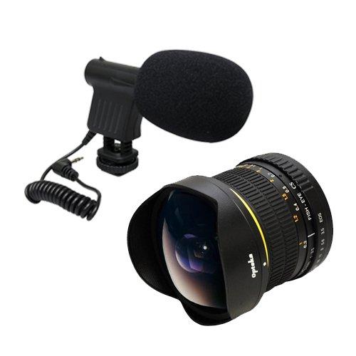 Opteka Vm-8 Mini-Shotgun Mic With 6.5Mm Manual Focus Fisheye Lens For Canon Eos Rebel T5I T4I Sl1 T5 1100D 1000D T3 T3I 60D 600D 650D 7D 350D Xs I Xt Xti Xs T2I, T1I, 50D, 40D, 30D, 20D, 6D, 5D, 1D, Kiss X5, Kiss X4, Kiss X6I, Kiss X7I & 550D Digital Slr