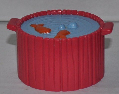 Little People Red Barrel of Fish - Replacement Figure - Classic Fisher Price Collectible Figures - Loose Out Of Package & Print (OOP) - Zoo Circus Ark Pet Castle