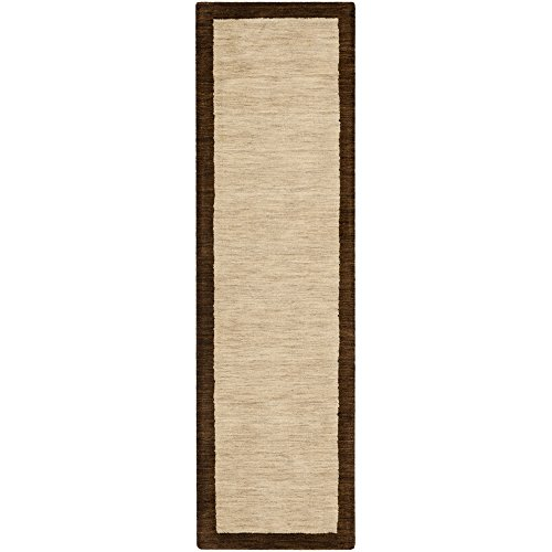 Safavieh Himalaya Collection HIM585A Handmade Beige and Dark Brown Wool Runner, 2 feet 3 inches by 10 feet (2'3