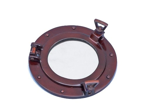 "Handcrafted Nautical Decor Deluxe Class Antique Copper Porthole Mirror, 8"", Copper"