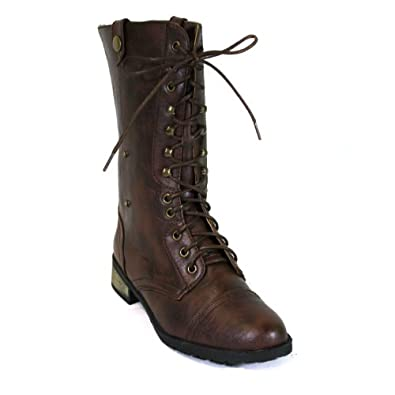 Carrini Women's Vegan Leather Combat Boots (7.5, Brown)