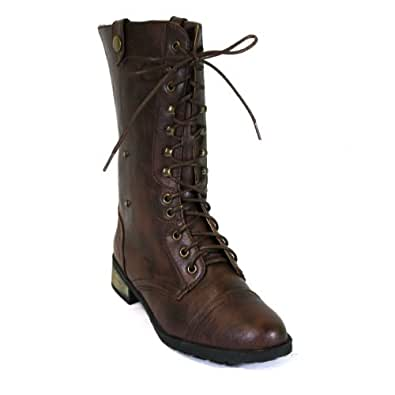 Carrini Women's Vegan Leather Combat Boots (7.5, Brown)