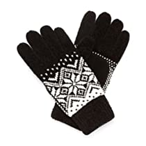 Isotoner Womens Black & White Chenille Snowflake Knit Gloves Fairisle