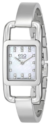 ESQ Movado Women's 07101406 esq Angle Diamond-Accented Stainless Steel Watch