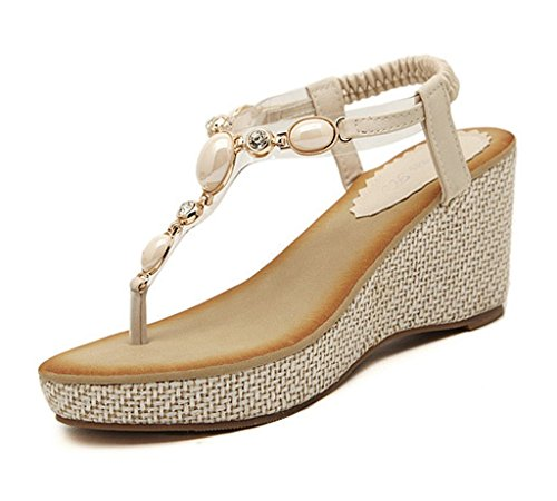 Minetom Donne Elegante Sandali Con Zeppa Boemia Estate Scarpe Clip Toe Sandali Beige 38