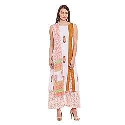 Pinkshink White Hand Block Printed Cotton Salwar Kameez Dress Material k106