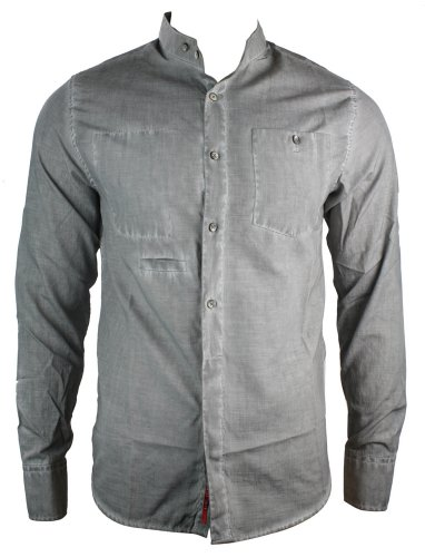 Mens Grey RNT Casual Shirt Chinese Collar Italian Styling Slim Fit