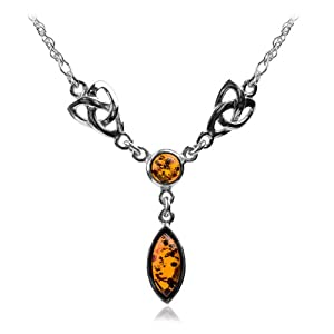 Honey Amber Sterling Silver Celtic Love Knot Classic Long Necklace 18 Inches by Ian and Valeri Co.