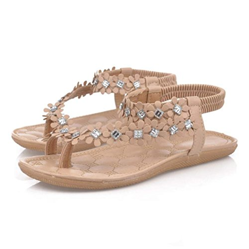 AutumnFall® Women's Summer Bohemia Flower Beads Flip-flop Shoes Flat Sandals (8, Khaki)
