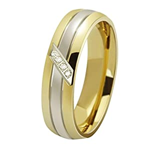 AMDXD Jewelry 18K Gold Plated Titanium Steel Men's Fashion Finger Rings 1 Row CZ Golden US Size 8 by AMDXD