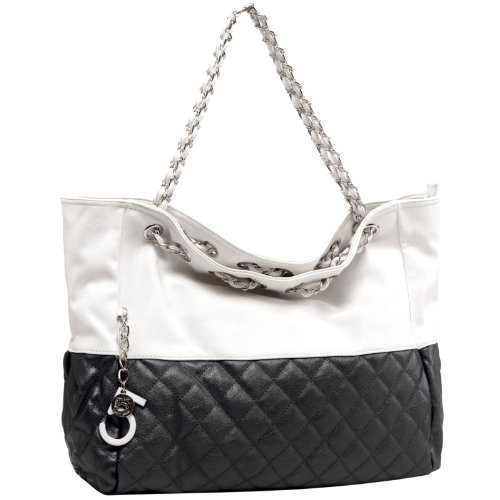 MG Collection CAMRYN Black Quilted Oversized Hobo Handbag w/ Shoulder Chains