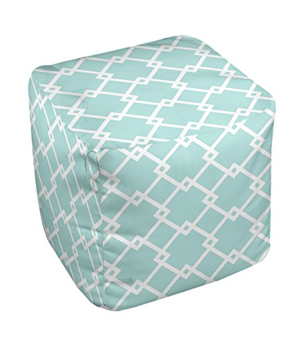 E by design FG-N10-Ocean_White-13 Geometric Pouf - 1