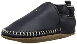 Robeez Classic Moccasin Crib Shoe (Infant), Navy, 0-6 Months M US Infant