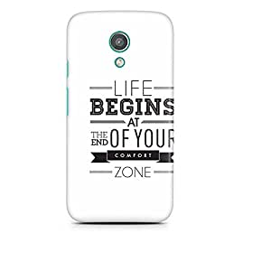 Motivatebox - Moto E2 (2nd Generation) Back Cover - Life begins at the end of your comfort zone Polycarbonate 3D Hard case protective back cover. Premium Quality designer Printed 3D Matte finish hard case back cover.