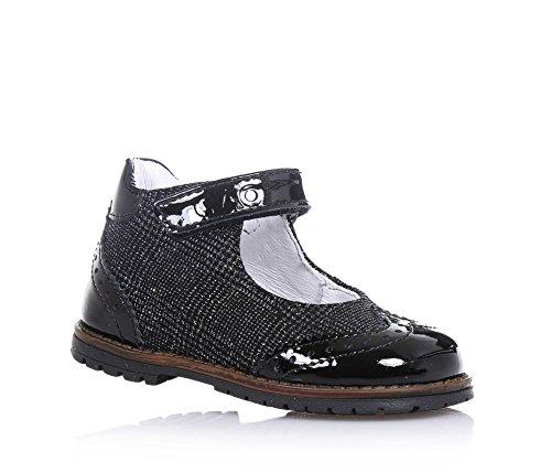 CIAO BIMBI - Scarpa nera in tessuto laminato e vernice, con chiusura a strappo, logo sulla chiusura, con lavorazione bucherellata, Bambina-19