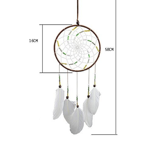 Dremisland Indian Dream Catcher Home Decor, Feather Dreamcatcher Wind Chimes Indian Style, Religious Mascot Car or Wall hanging Decoration (white-o2)