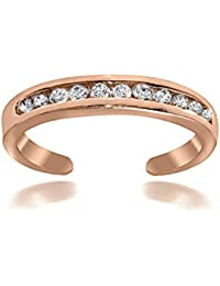 RG Jewellery 14k Rose Gold Plated 925 Sterling Silver Channel-set Cubic Zirconia Toe Ring