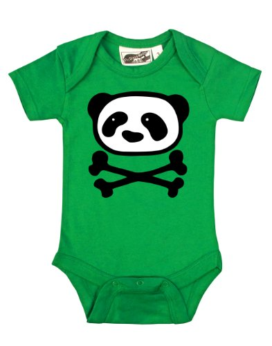 Panda Crossbones Green Baby One Piece 0-3 Months front-849280