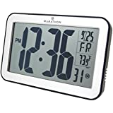 MARATHON CL030033SV Atomic Self-setting Self-adjusting Wall Clock w/ Stand - Brushed Silver, Batteries Included