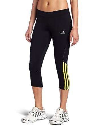 adidas Women's Response Drei Streifen Three quarter Tight, Black/Lab Lime, XX-Small