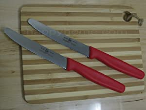 Icel Red Steak knife 4 1/4-inch Blade Serrated High Carbon Steel Set Of 2