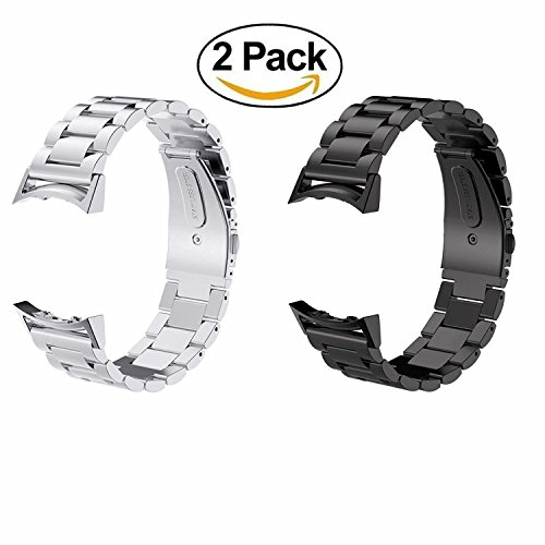 Pack of 2 Gear S2 Bands Acestar Solid Stainless Steel Metal Replacement Band + Connector For Samsung Galaxy Gear S2 SM-R720 & SM-R730 Smart Watch (Silver Band+Black Band) (Gear 2 Metal Band compare prices)