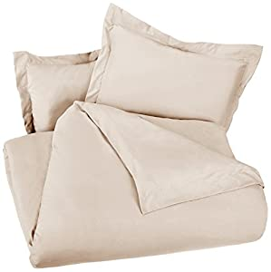 AmazonBasics Microfiber Duvet Cover Set - King, Beige