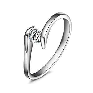Magic Collection White Gold Finish Cubic Zirconia Solitaire Promise Ring R34 (7)