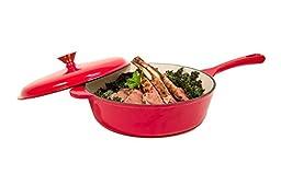 Heuck 33202 Porcelain Enamel Cast Iron Chicken Fryer, 10.5-Inch, Red