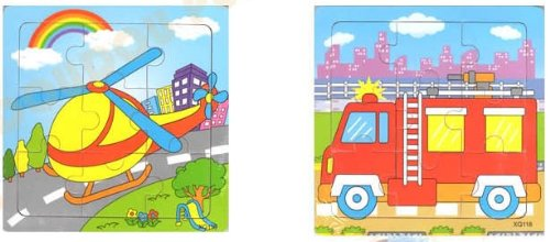 2pcs Wooden Cartoon Traffic Jigsaw Puzzle Early Educational Toys Gifts (Plane+ Fire Truck ?