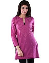 AARR Round Neck 3/4 Sleeve Short Cotton Casual Kurta
