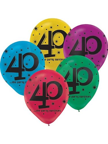 The Party Continues 40Th Birthday Latex Balloons front-1036303
